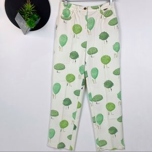 St. John Tree Print High Waisted Pant Size 6